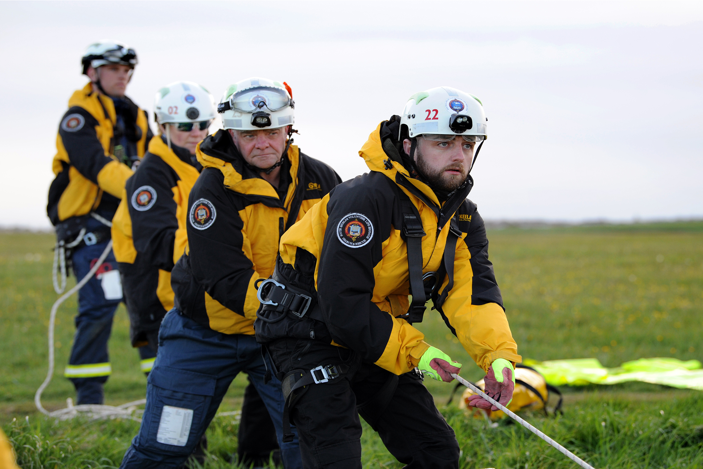 South Shields Volunteer Life Brigade (SSVLB)  - cliff rescue training at Manhaven Bay, South Shields.